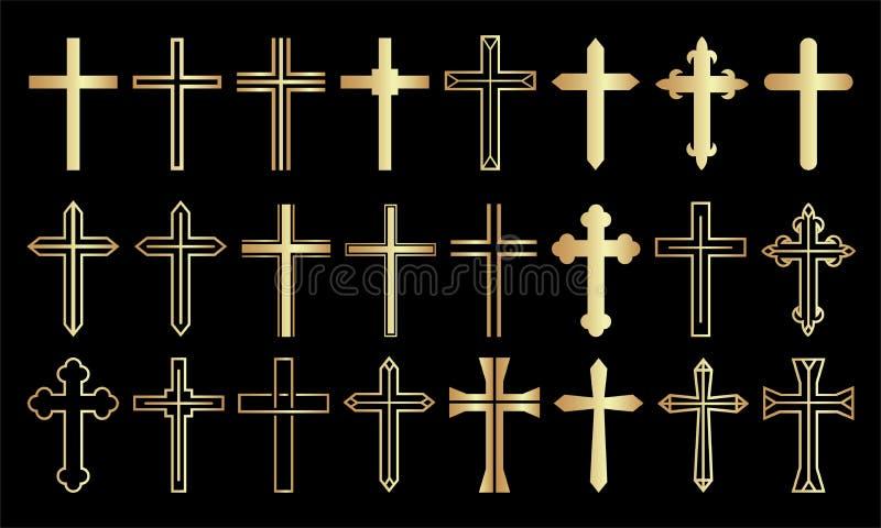Gouden Dwars Vastgesteld Christian Icon Collection op Zwarte Achtergrond stock illustratie