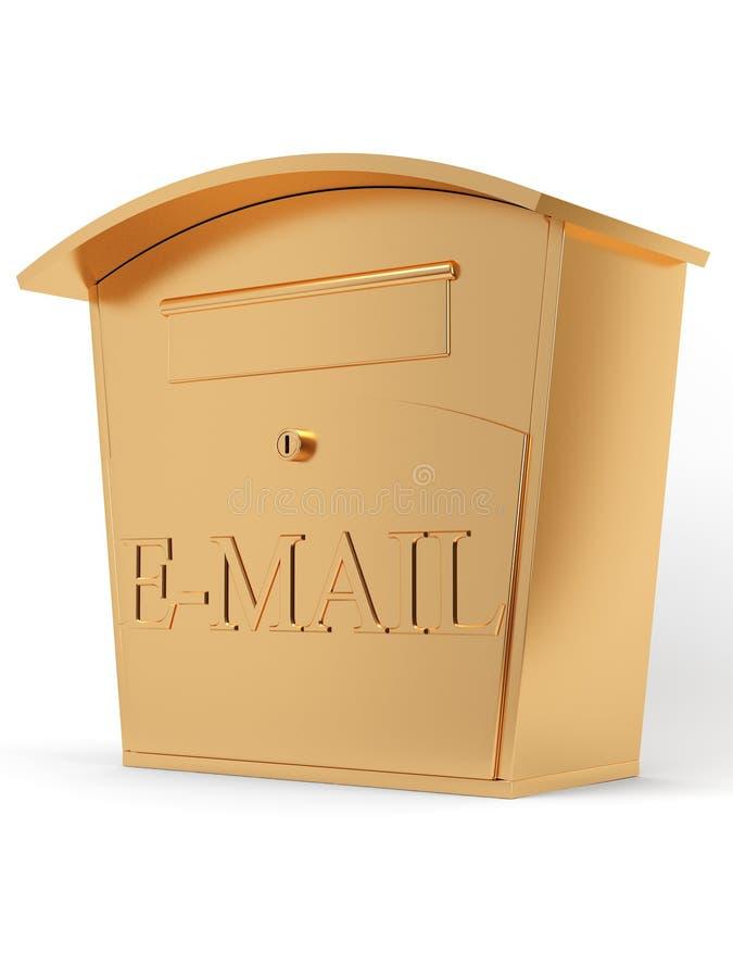 Gouden e-maildoos stock afbeeldingen