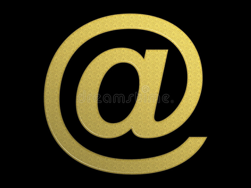 Gouden @ (e-mailsymbool) Royalty-vrije Stock Afbeelding