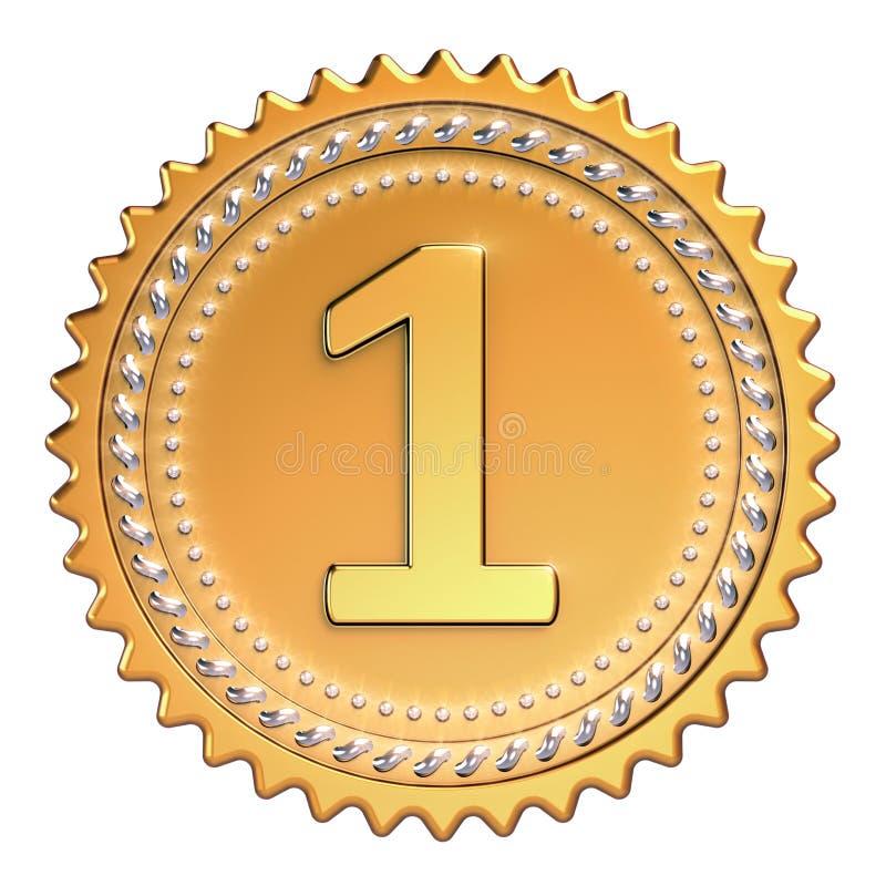 Gouden eerste de plaatswinnaar van de medailletoekenning Nummer één kampioen royalty-vrije illustratie