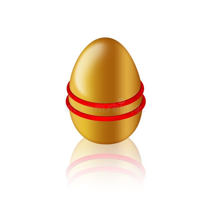 Gouden ei met elastisch/rubber voor kleuring stock illustratie