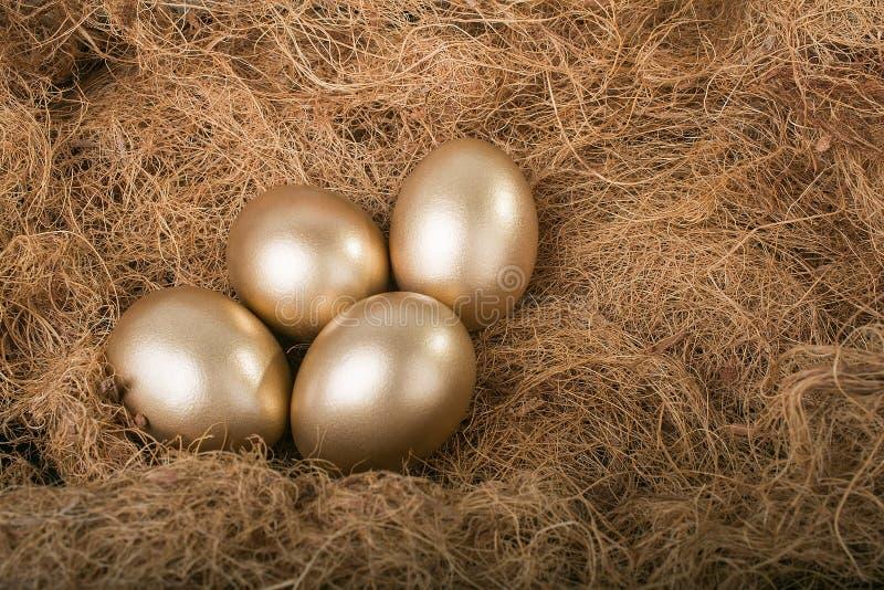 Gouden eieren in nest royalty-vrije stock foto