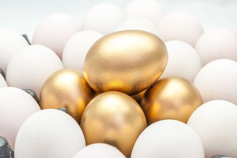 Gouden eieren onder de witte eieren royalty-vrije stock afbeeldingen