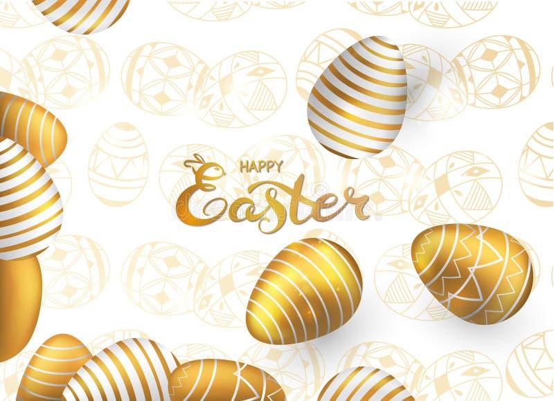Gouden eieren van kaart de gelukkige Pasen op transparante achtergrond vector illustratie