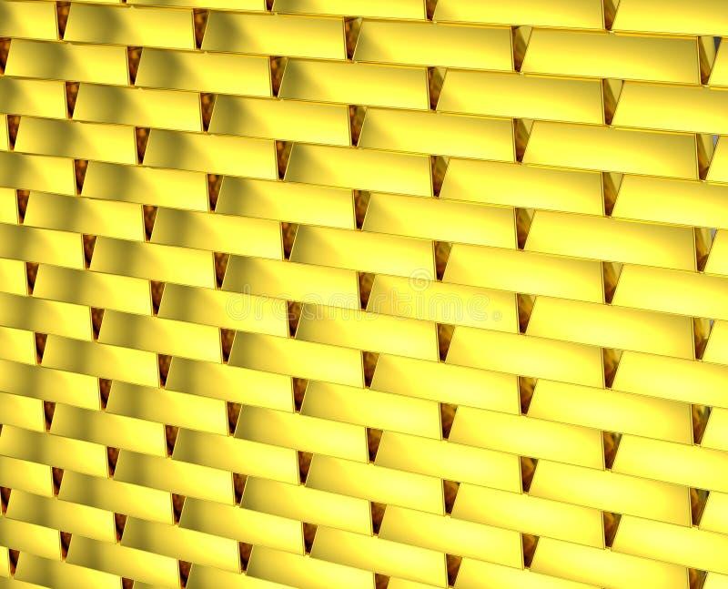 Gouden eindeloze bakstenen muur stock foto's