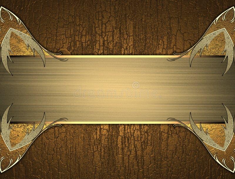 Gouden elegant patroon voor tekst op houten textuur vector illustratie