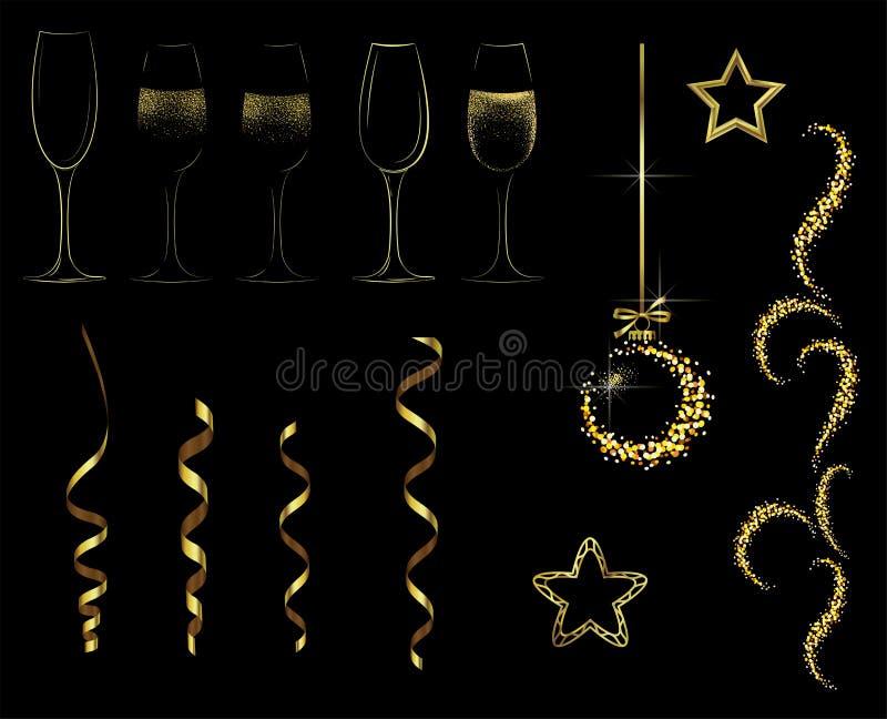 Gouden elementen voor het nieuwe jaar en Kerstmis stock illustratie