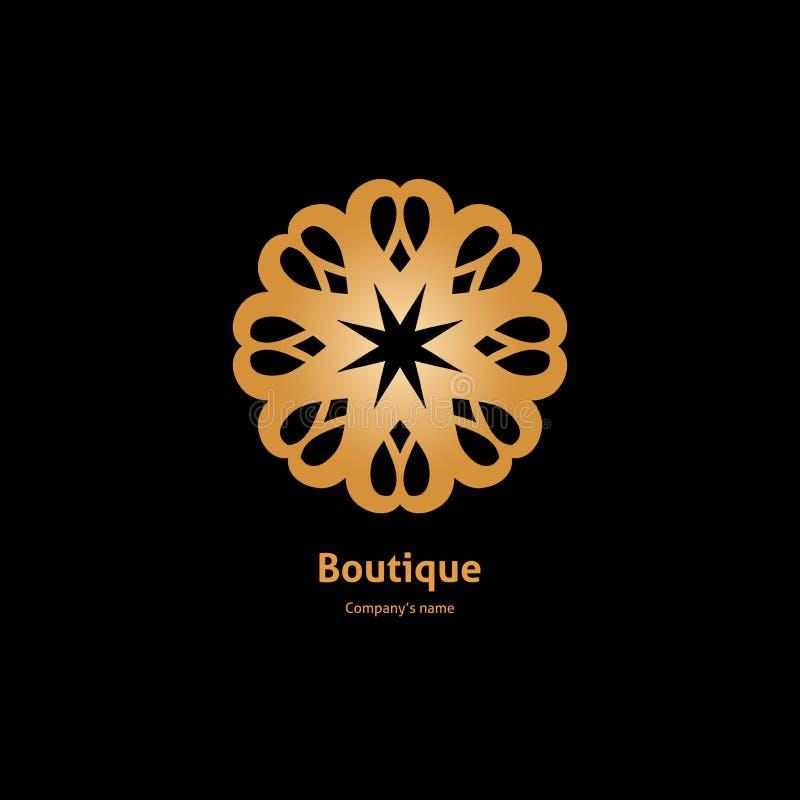 Gouden embleem, bloem Luxe Logotype Volumetrische gouden grote knop wijnoogst retro royalty-vrije illustratie