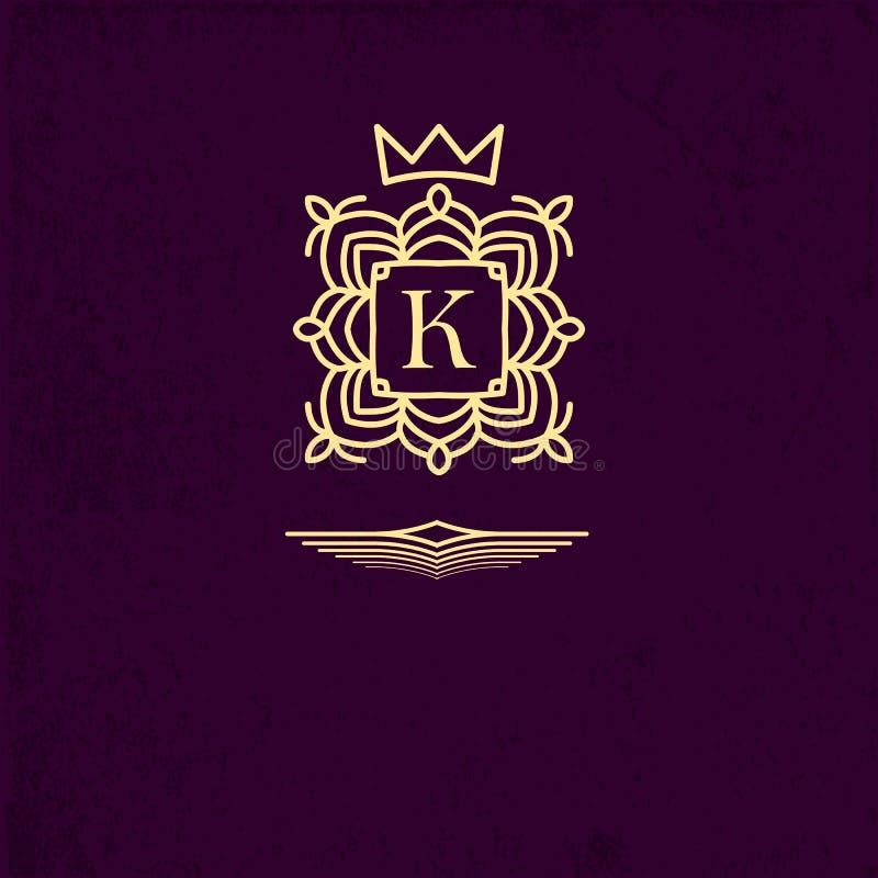 Gouden embleem gevormd kader rond de brief K De elementen van het monogramontwerp, bevallig malplaatje Eenvoudig embleemontwerp v stock illustratie