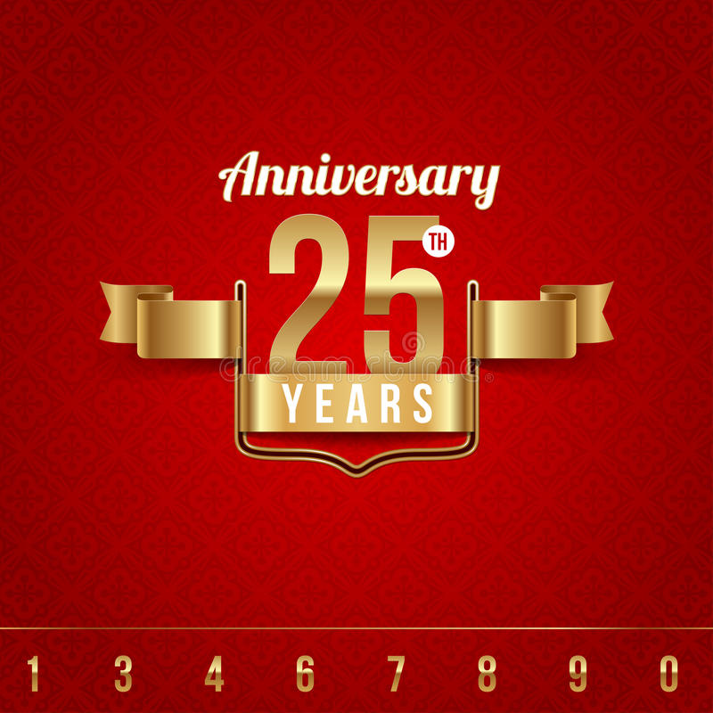 Gouden embleem van verjaardag vector illustratie