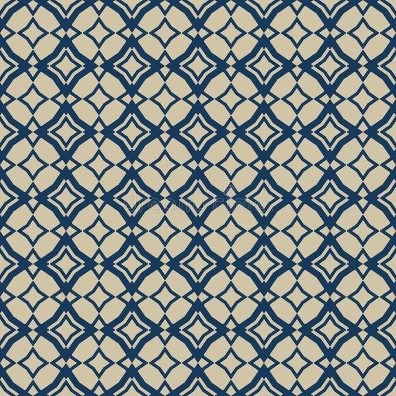 Gouden en blauw abstract vector geometrisch naadloos patroon in oosterse stijl royalty-vrije illustratie