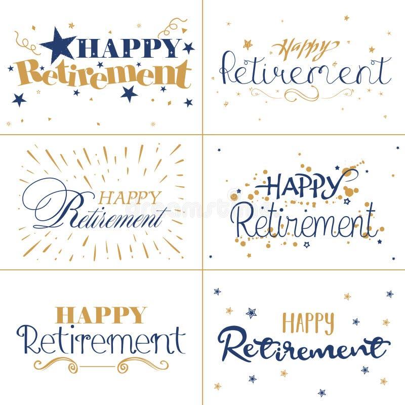 Gouden en blauw typografieontwerp van Gelukkige Pensioneringsteksten vector illustratie