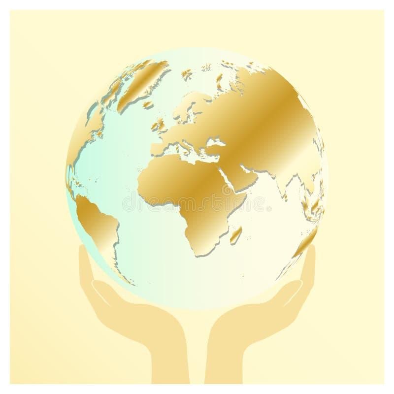 Gouden en blauwe aarde in twee menselijke handen of palmen op lichte gouden kleurenachtergrond Sparen aardeconcept Internationale royalty-vrije illustratie