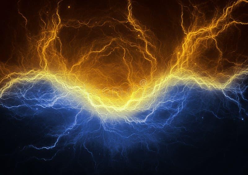 Gouden en blauwe elektrische bliksem royalty-vrije illustratie