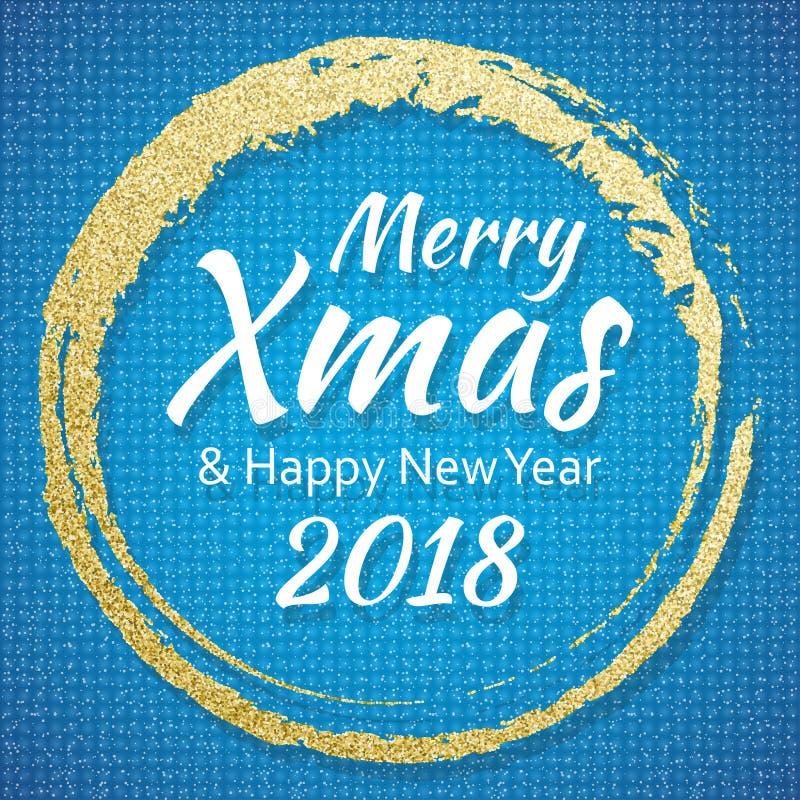 2018, Gouden en blauwe kaart met Vrolijke Kerstmisteksten en schittert kader Fonkelende vakantieachtergrond, vectorstofgrens vector illustratie