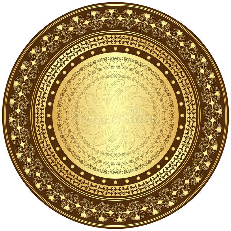 Gouden en bruin rond frame vector illustratie