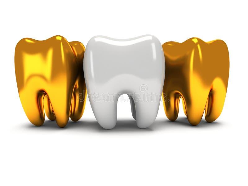 Gouden en gezonde tanden stock illustratie