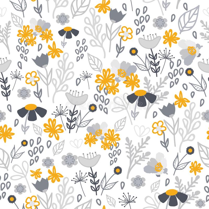 Gouden en grijs bloemen naadloos patroon vector illustratie