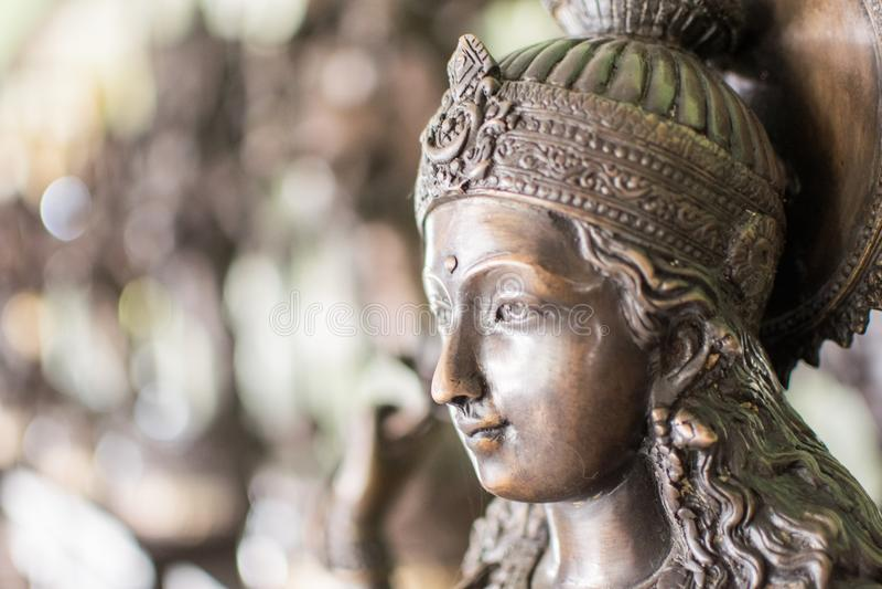 Gouden en grijze Hindoese Godin geïsoleerde Kali stock afbeeldingen