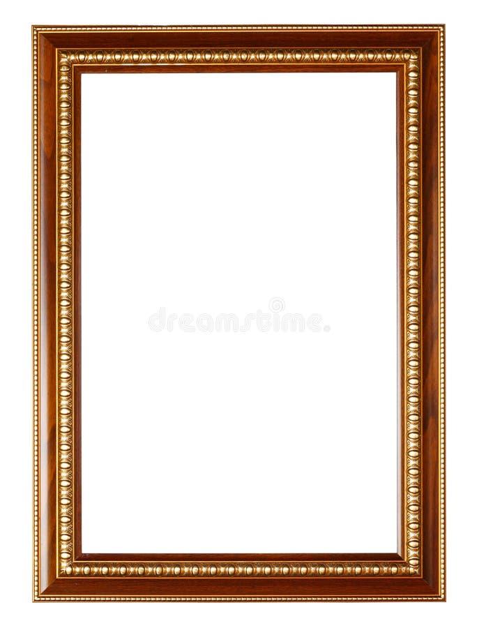 Gouden en houten frame op wit stock foto's
