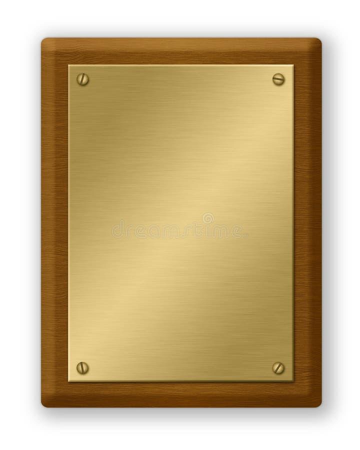 Gouden en Houten Plaque vector illustratie