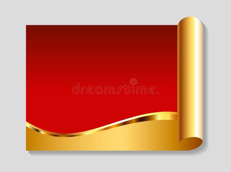 Gouden en rode abstracte achtergrond stock illustratie