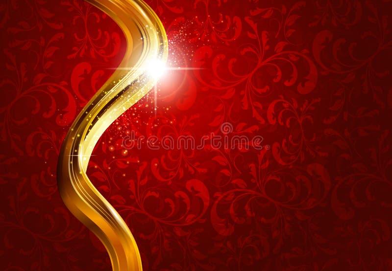 Gouden en rode abstracte achtergrond royalty-vrije illustratie