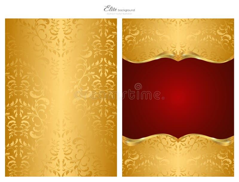 Gouden en rode abstracte achtergrond, voorzijde en rug royalty-vrije illustratie