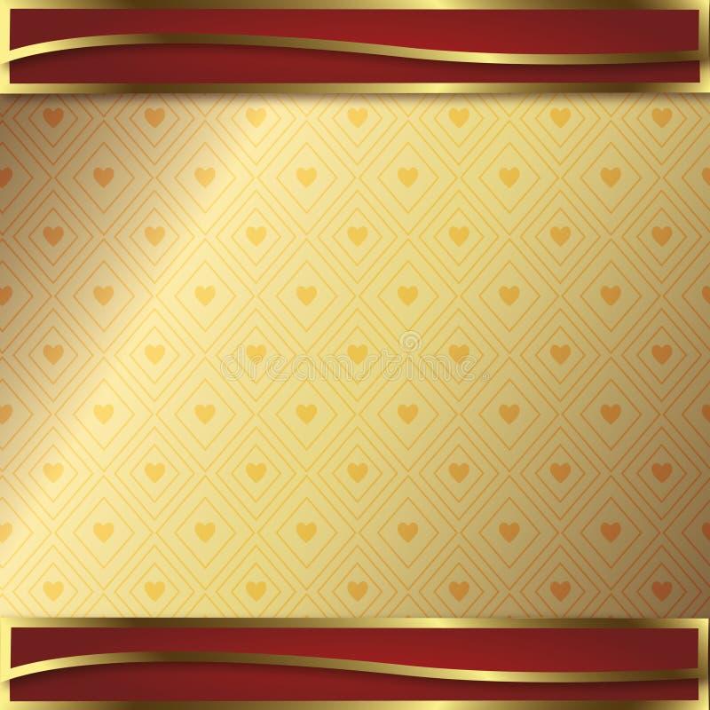 Gouden en rode context voor kaart of decoratie stock foto
