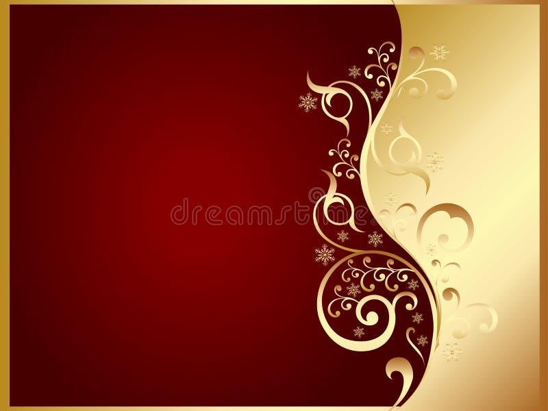 Gouden en rode uitnodigingskaart vector illustratie
