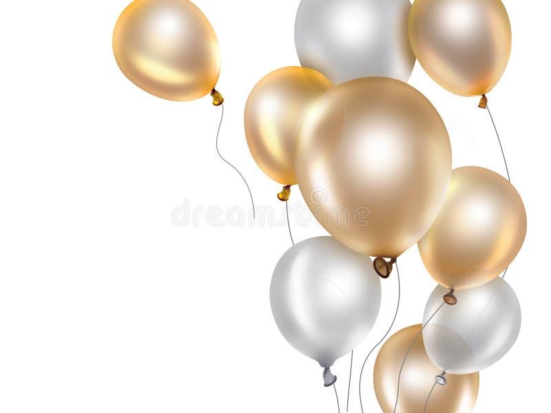 Gouden en Witte Ballons stock illustratie
