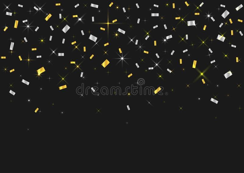 Gouden en Zilveren Confettien stock illustratie