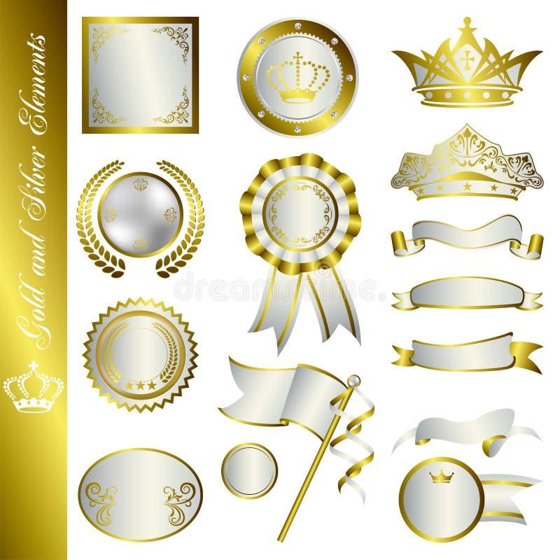 Gouden en zilveren elementen vector illustratie