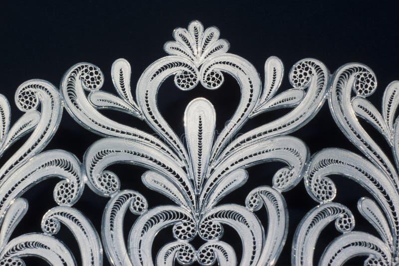 Gouden en zilveren filigraan stock afbeeldingen
