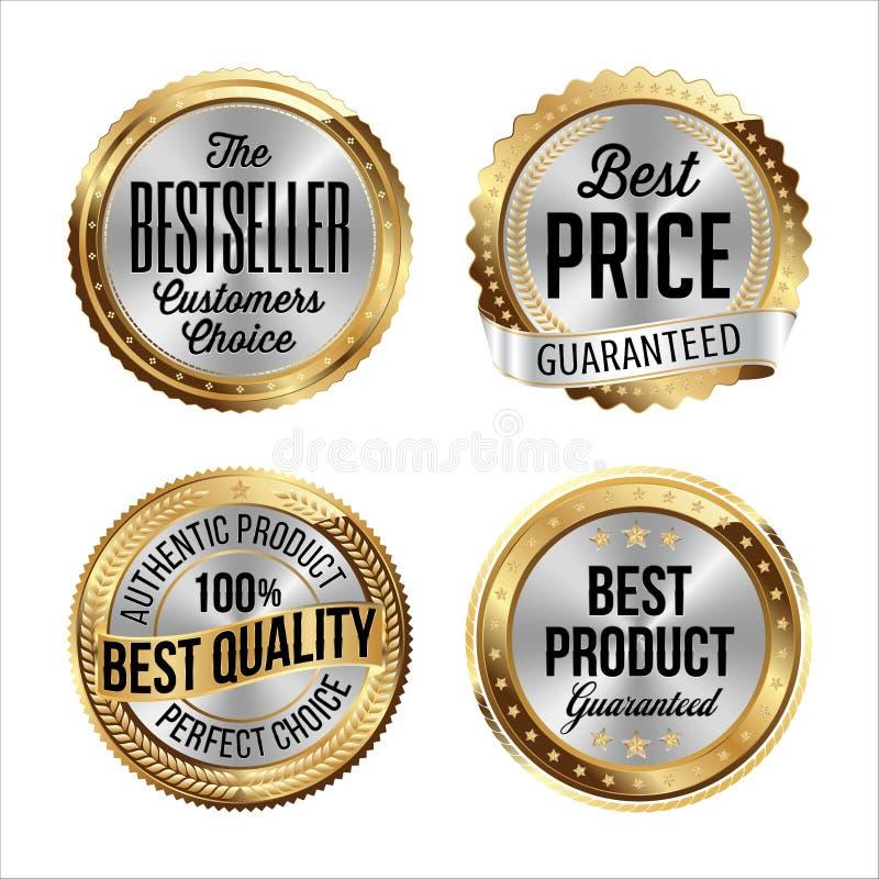 Gouden en Zilveren Kentekens Reeks van vier Best-seller, Beste Prijs, Beste Kwaliteit, Beste Product royalty-vrije illustratie