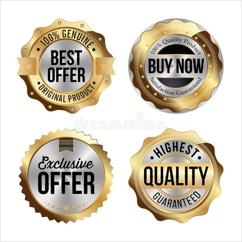 Gouden en Zilveren Kentekens Reeks van vier De beste Aanbieding, koopt nu, Exclusieve Aanbieding, Hoogste Kwaliteit vector illustratie