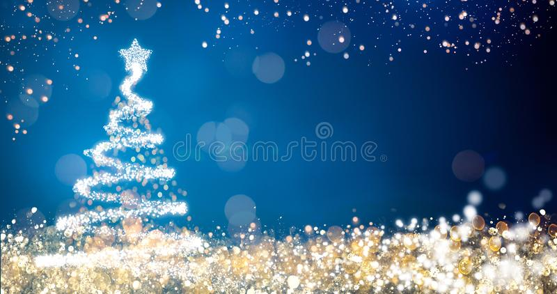 Gouden en zilveren lichten met Kerstmisboom op blauwe achtergrond, heldere decoratie voor het vrolijke bericht van de Kerstmisgro stock illustratie