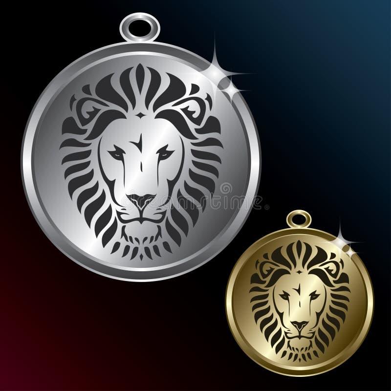 Gouden en zilveren medaillon met beweging veroorzakende leeuw vector illustratie