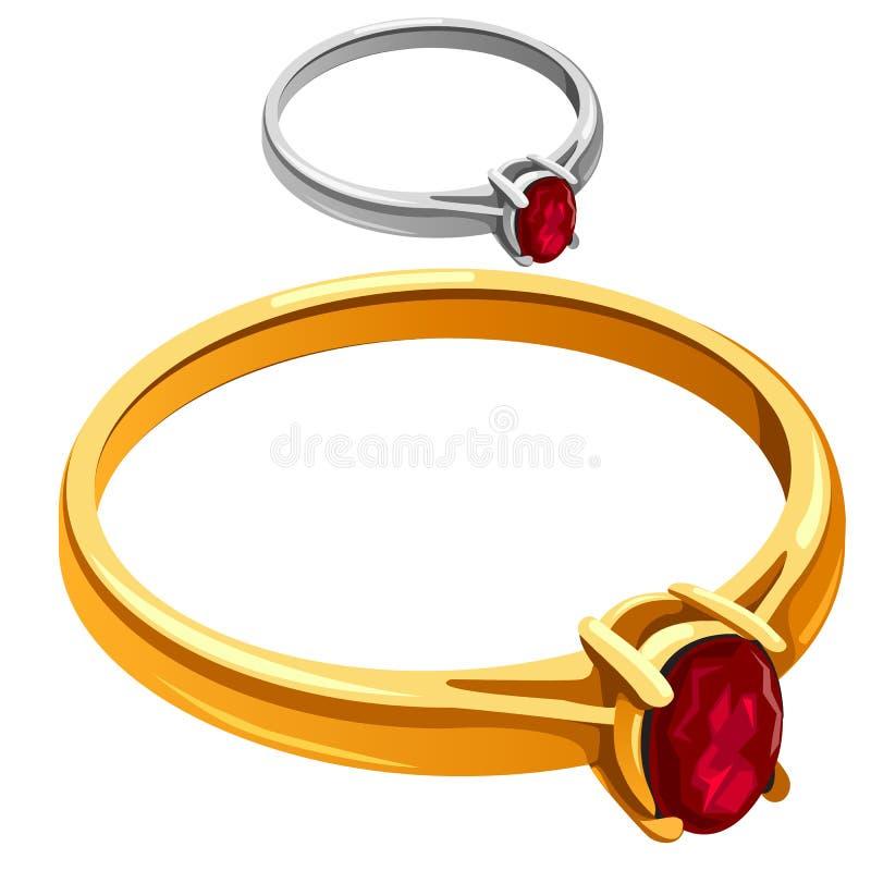 Gouden en zilveren ring met rode robijnrode, vectorjuwelen vector illustratie