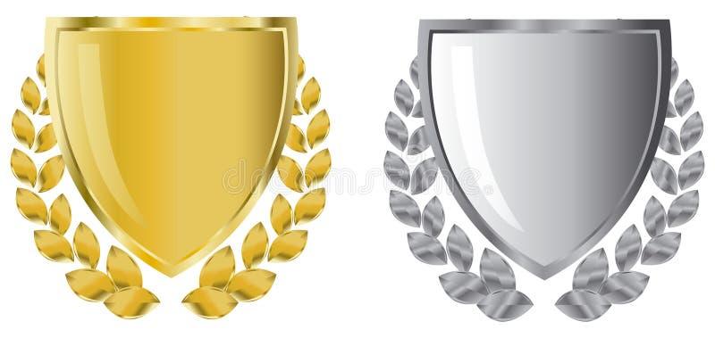 Gouden en zilveren schilden stock illustratie