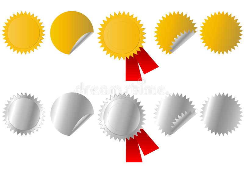 Gouden En Zilveren Stickers Royalty-vrije Stock Foto