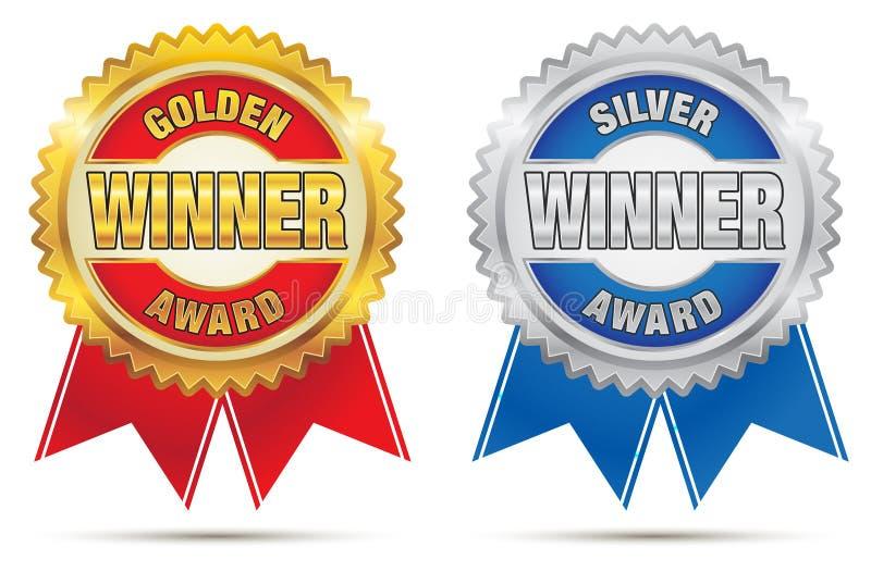 Gouden en Zilveren Toekenning vector illustratie