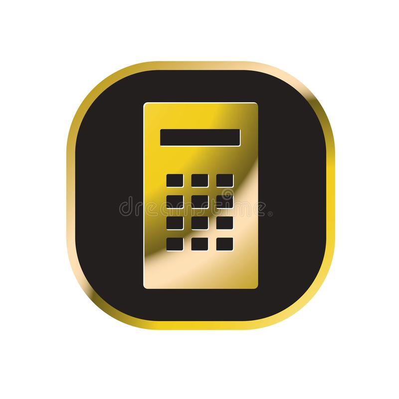 Gouden en zwart calculatorpictogram dat op wit wordt geïsoleerd stock illustratie