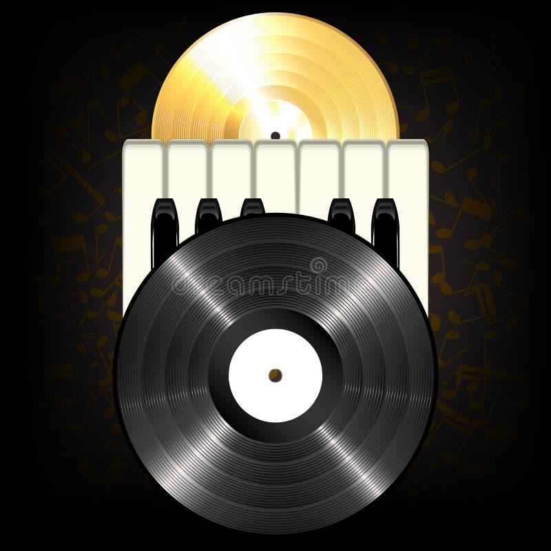 Gouden en zwart klassiek vinyl royalty-vrije illustratie
