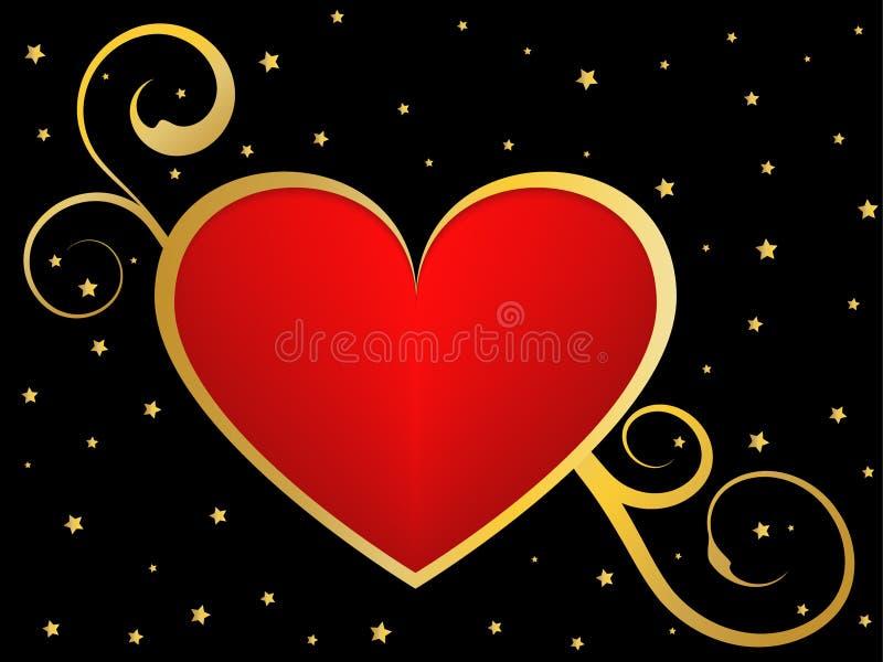Gouden en zwarte liefdeachtergrond stock illustratie