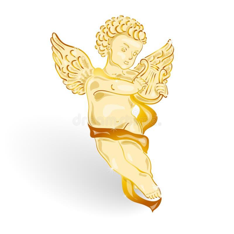 Gouden engel met muzieklier royalty-vrije illustratie