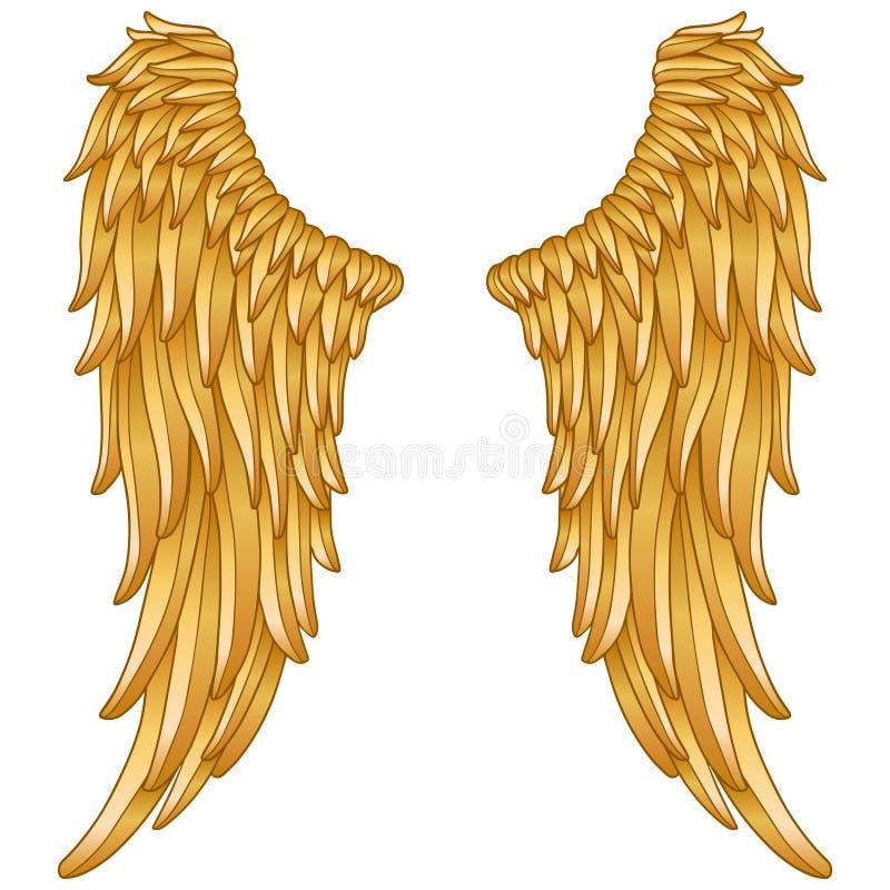 Gouden engelenvleugels stock illustratie