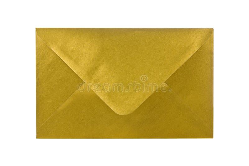Gouden envelop. stock afbeelding