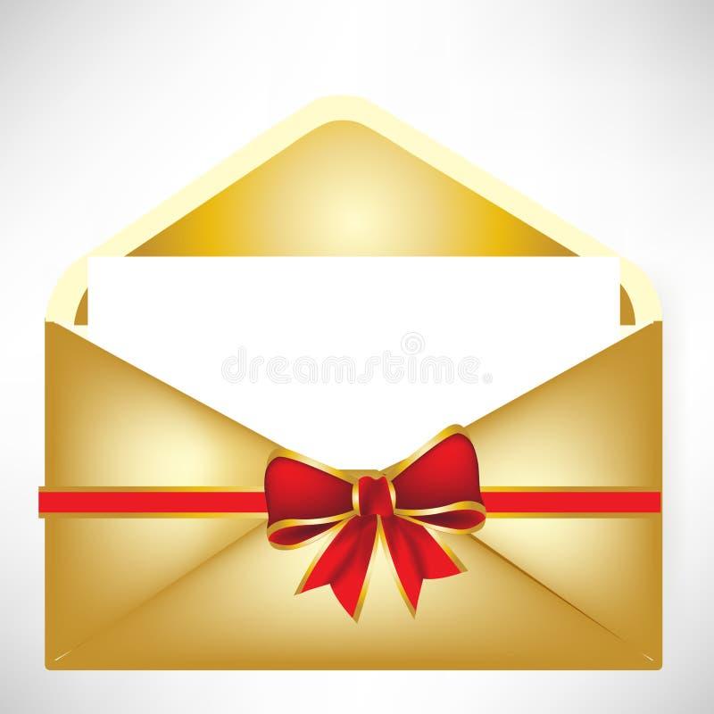 Gouden envelop stock illustratie
