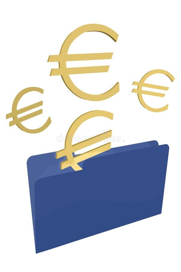 Gouden Euro in Blauwe Omslag stock illustratie